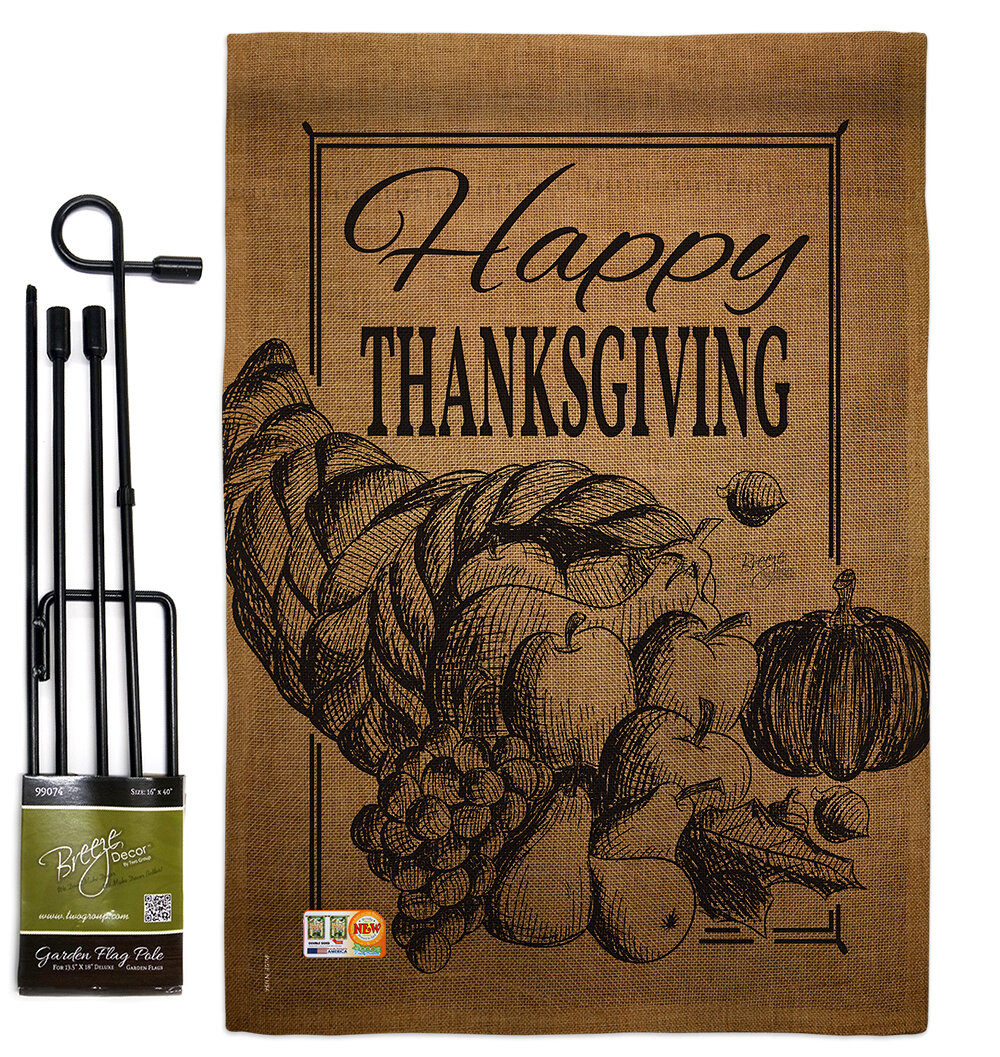 Breeze Decor Happy Cornucopia Fall Thanksgiving Impressions 2 Sided Burlap 19 X 13 In Flag Set Wayfair