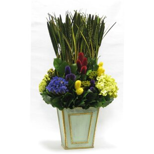 Mixed Floral Arrangement in Wooden Narrow Flared Container