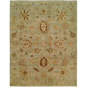 Seattle Hand-Knotted Green Area Rug