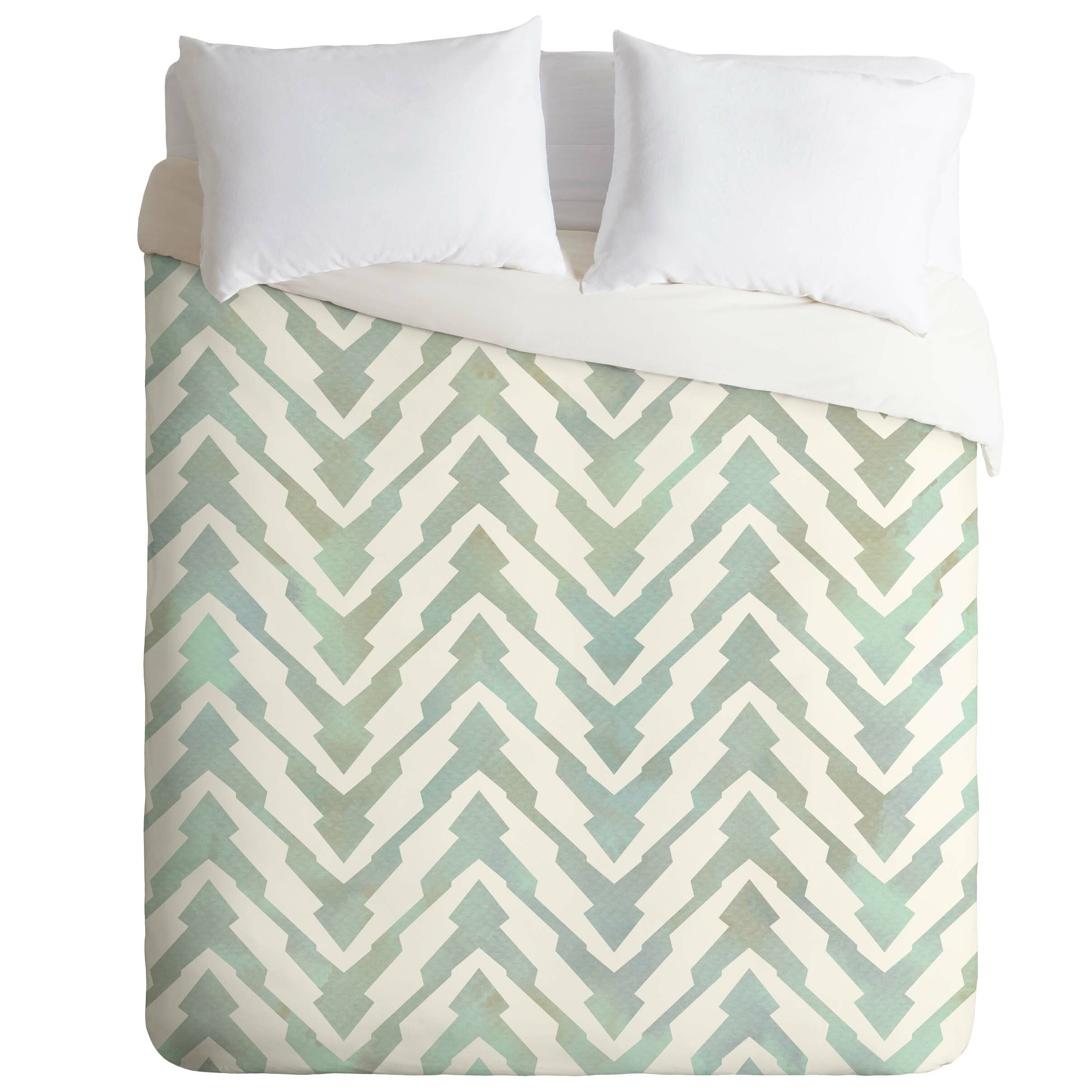 Zig Zag Chevron Grey Cream Cotton Blend Single Duvet Cover Bedding Duvets Duvet Covers