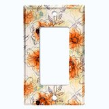 Metal Light Switch Plate Outlet Cover (Watercolor Flowers Green - Single Rocker)