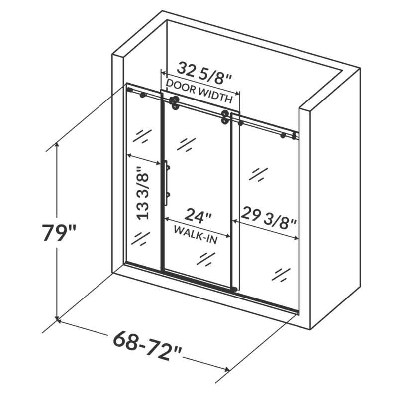 Ultra D 72 X 79 Single Sliding Shower Door With Double