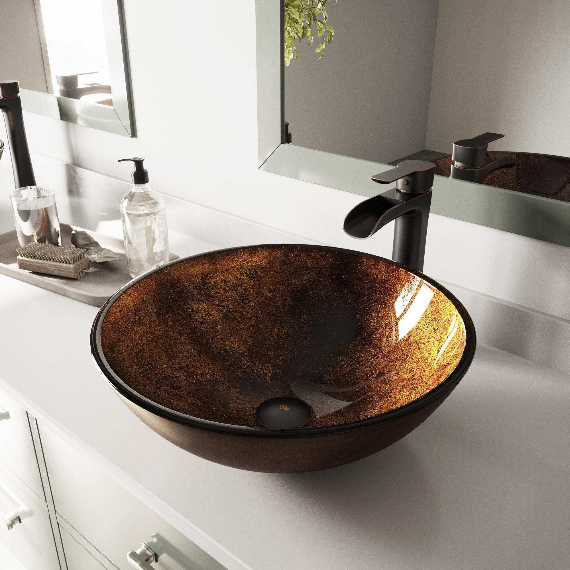 Vigo Russet Glass Circular Vessel Bathroom Sink Reviews Wayfair