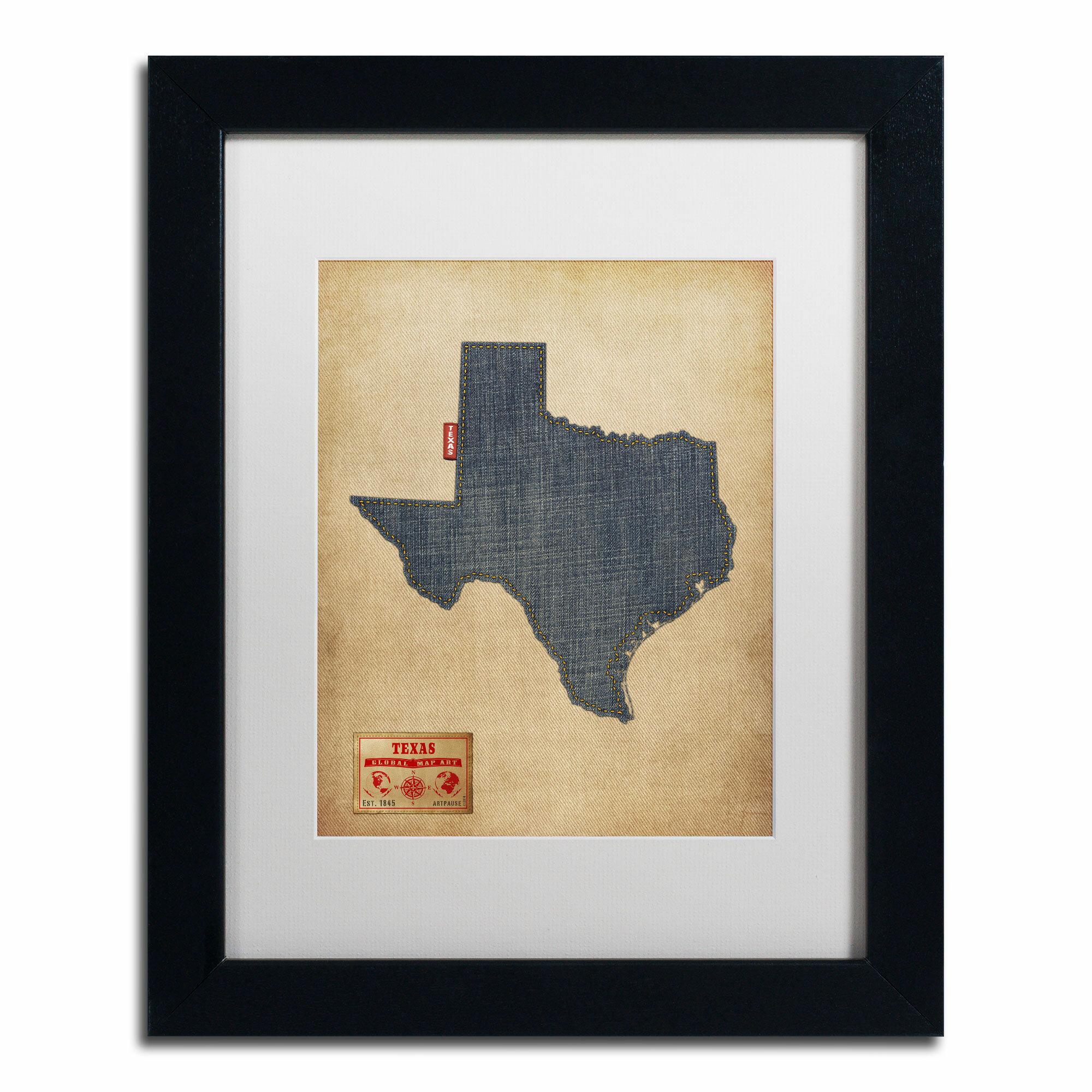 Trademark Art Texas Map Denim Jeans Style By Michael Tompsett Framed Graphic Art Wayfair