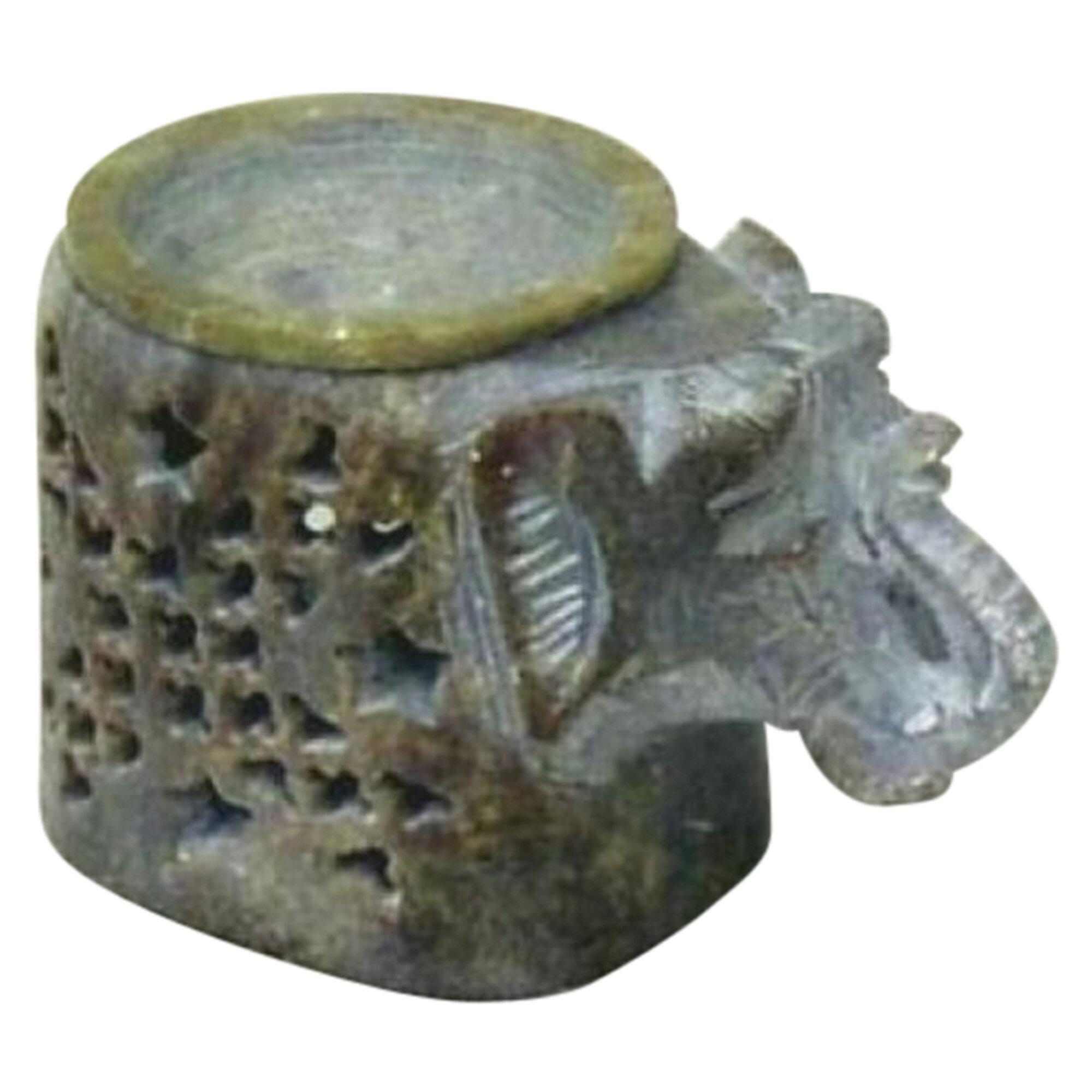 World Menagerie Soapstone Elephant Aroma Small Stone Tealight Holder Wayfair