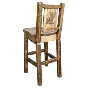 Affordable Price Abella 30 Barstool with Back and Laser Engraved Bear Design by Loon Peak