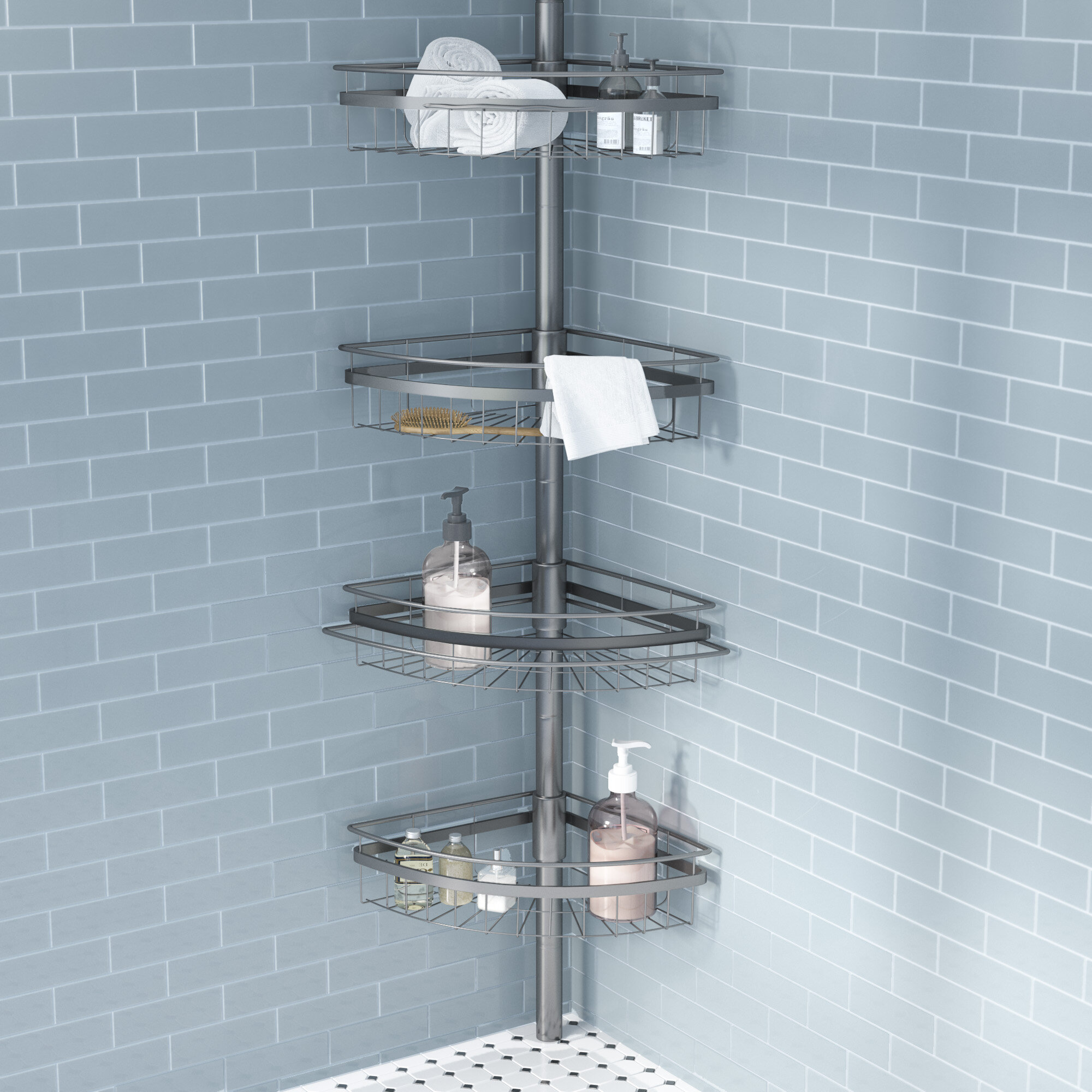 Contemporary Shower Organiser Pole Pictures - Bathtub Ideas - dilata ...