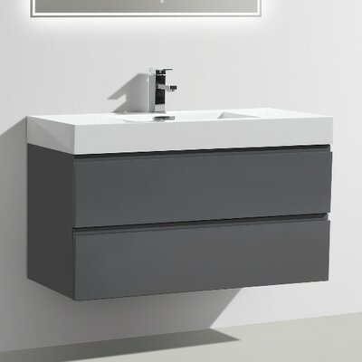 "Bathroom Vanities Vancouver Wa wade logan tenafly 40"" single wall mount modern bathroom vanity"