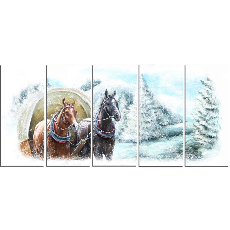 Designart Painted Scene With Horses In Winter 5 Piece Painting Print On Wrapped Canvas Set Wayfair