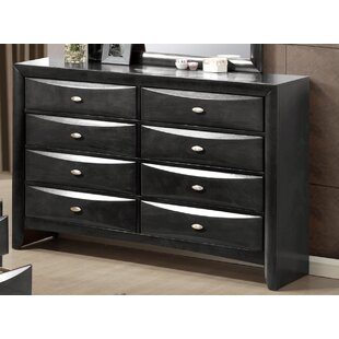 Red Barrel Studio Treadwell 8 Drawer Double Dresser with Mirror