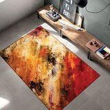 Woven Trends 047 Galaxy Multi-Colour Splashes Modern Area Rug Non-Slip Backing, Orange, 2' x 3' by 17 Stories