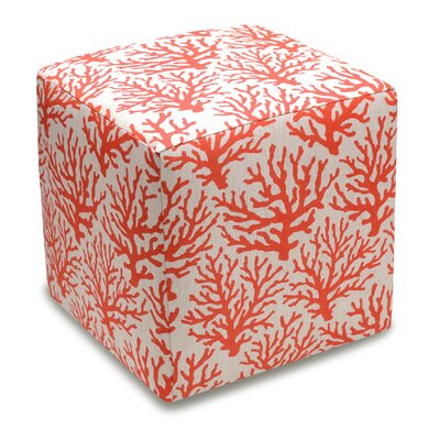 123 Creations Cube Ottoman Color Coral Red