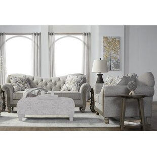 Larrick Fabric Tufted Leather Living Room Set (Set of 2) by Ophelia & Co.