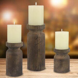 Wood/Metal Candlestick