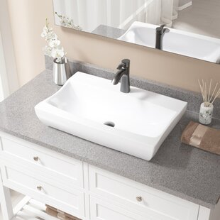 Vitreous China Rectangular Vessel Bathroom Sink with Faucet