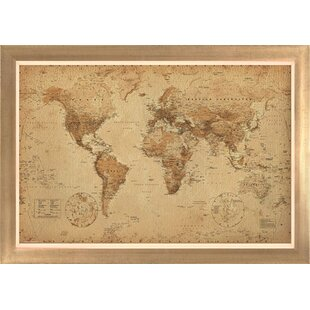 Framed world map wayfair world map antique framed graphic art gumiabroncs Images