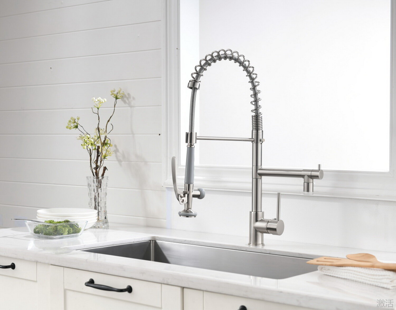 Star X Double Handle Pull Down Sprayer Kitchen Faucet With Led In Brushed Nickel Wayfair