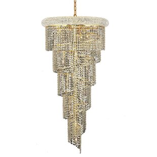 Mathilde 18-Light Crystal Chandelier by Everly Quinn