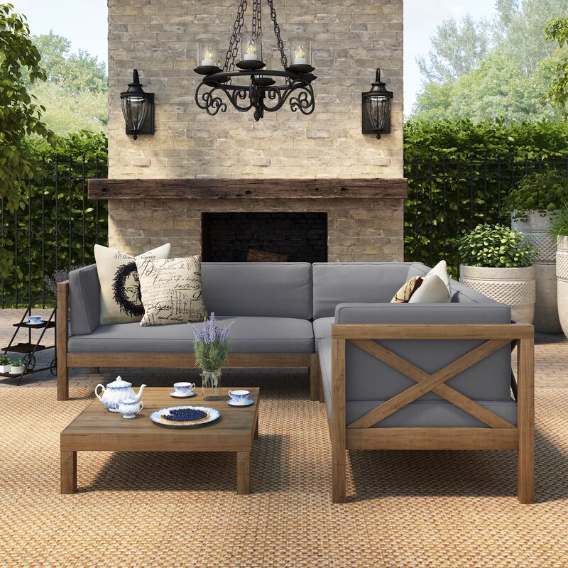 Great Lejeune 4 Piece Outdoor Seating Group With Cushion