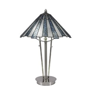 Zaniel 23.25 Ice Tiffany Glass Shade Table Lamp