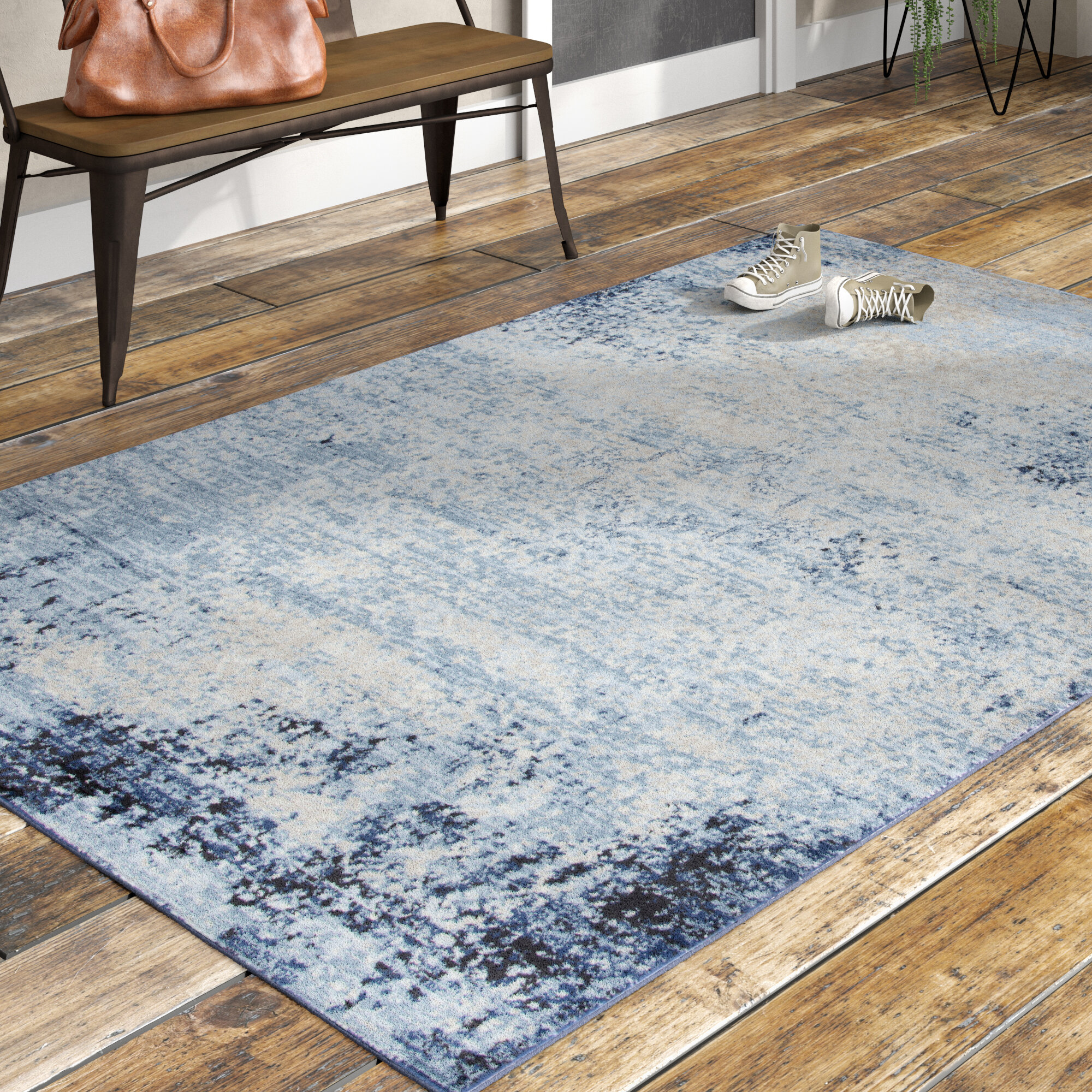 Williston Forge Lanette Blue Area Rug & Reviews | Wayfair