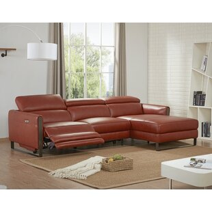 Kress Premium Leather Reclining Sectional by Brayden Studio