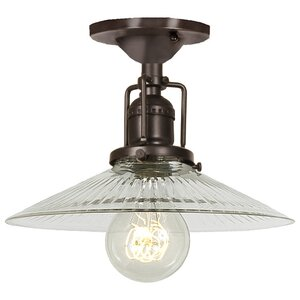Edgar 1-Light Ribbed Glass Semi Flush Mount