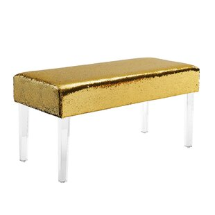 Feuer Sequin Upholstered Bench with Acrylic Leg