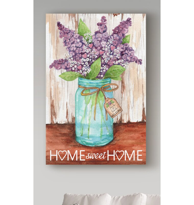 Large Home Sweet Home Purple Canvas Print Wall Art Abstract Painting Modern Floral Decor Flower Artwork
