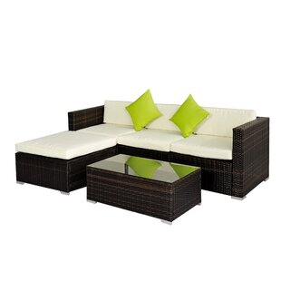 Orren Ellis Degroot 5 Piece Rattan Sectional Set With Cushion