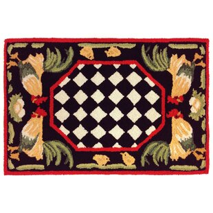 Treport Rooster Handmade Black Indoor/Outdoor Area Rug
