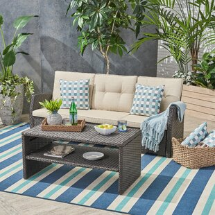Crosby Outdoor 2 Piece Rattan Sofa Seating Group with Cushions