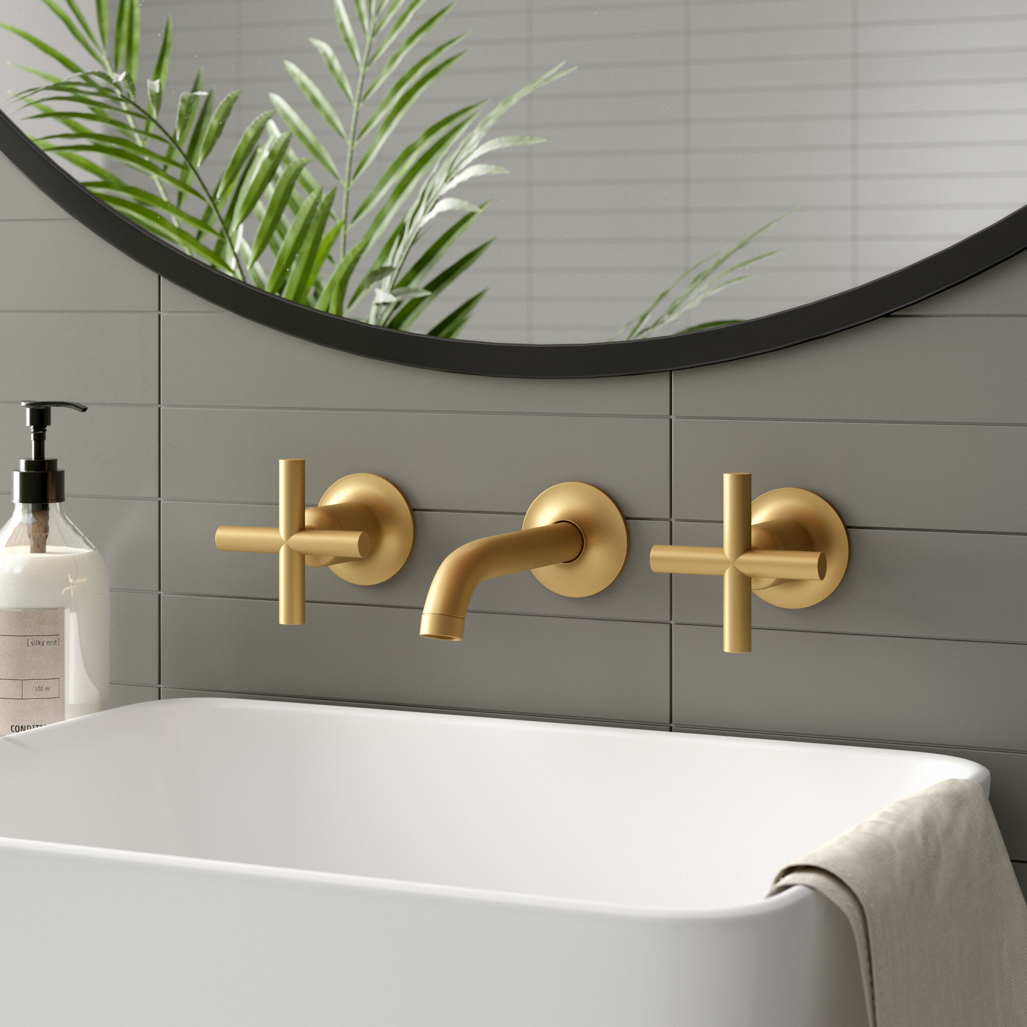 Purist Widespread Wall Mounted Bathroom Faucet Reviews Allmodern