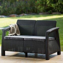 Beautiful Mercury Row Berard Patio Loveseat With Cushions U0026 Reviews   Wayfair