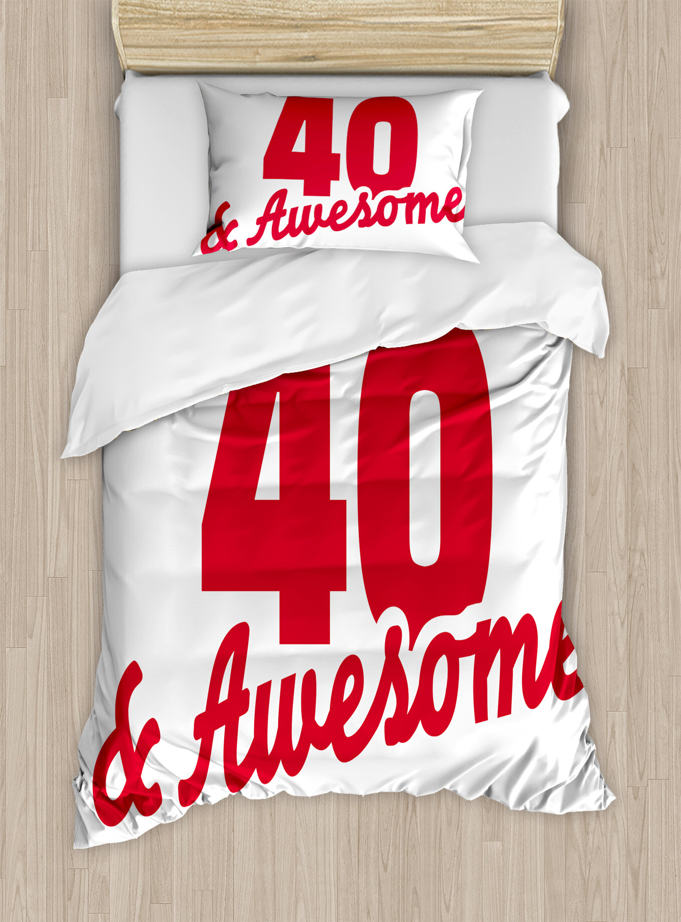Ambesonne 40th Birthday Decorations Forty And Awesome Hilarious Slogan Cool Motivation Duvet Cover Set