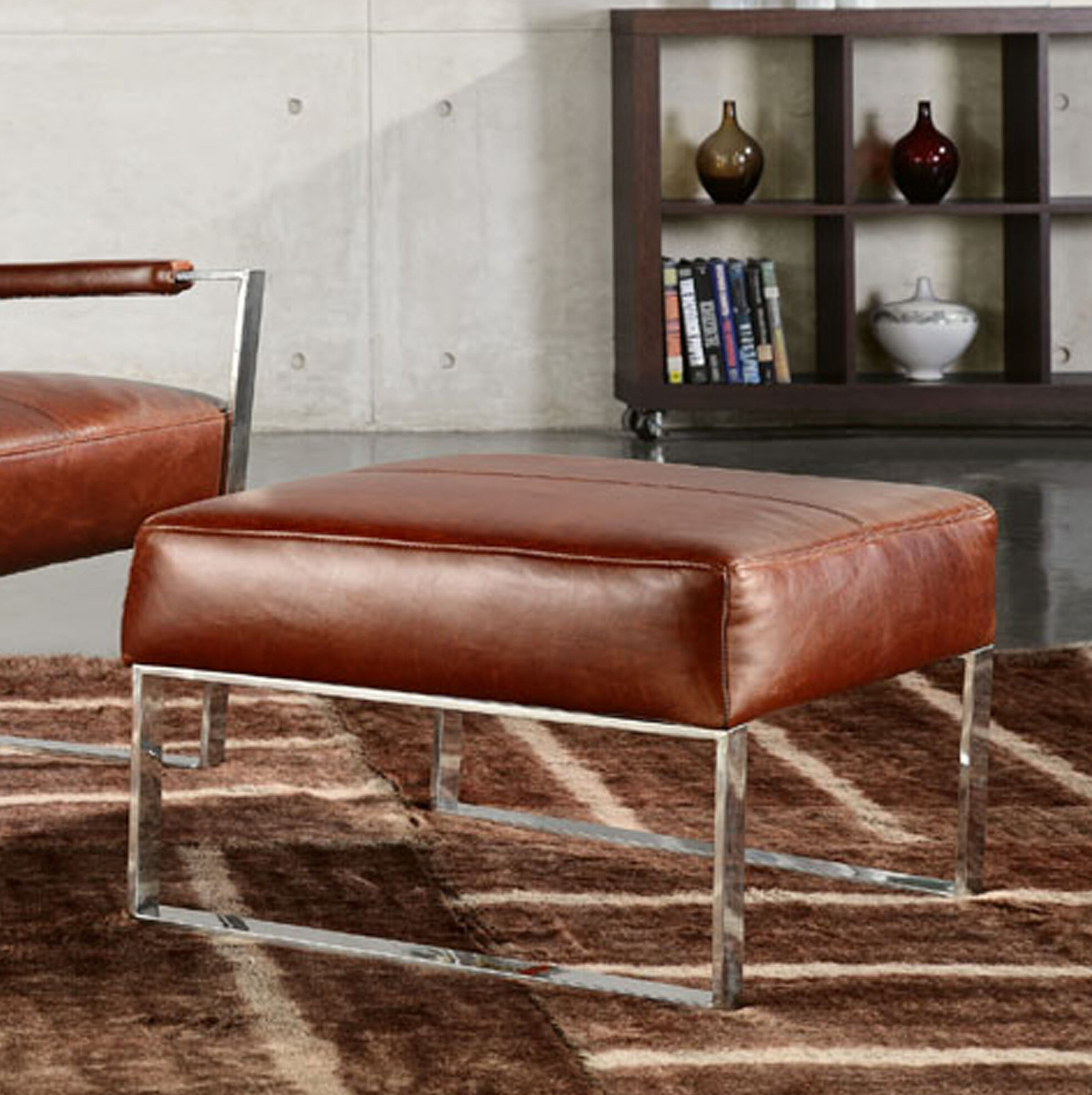 Fine Bremmer Leather Ottoman Gmtry Best Dining Table And Chair Ideas Images Gmtryco