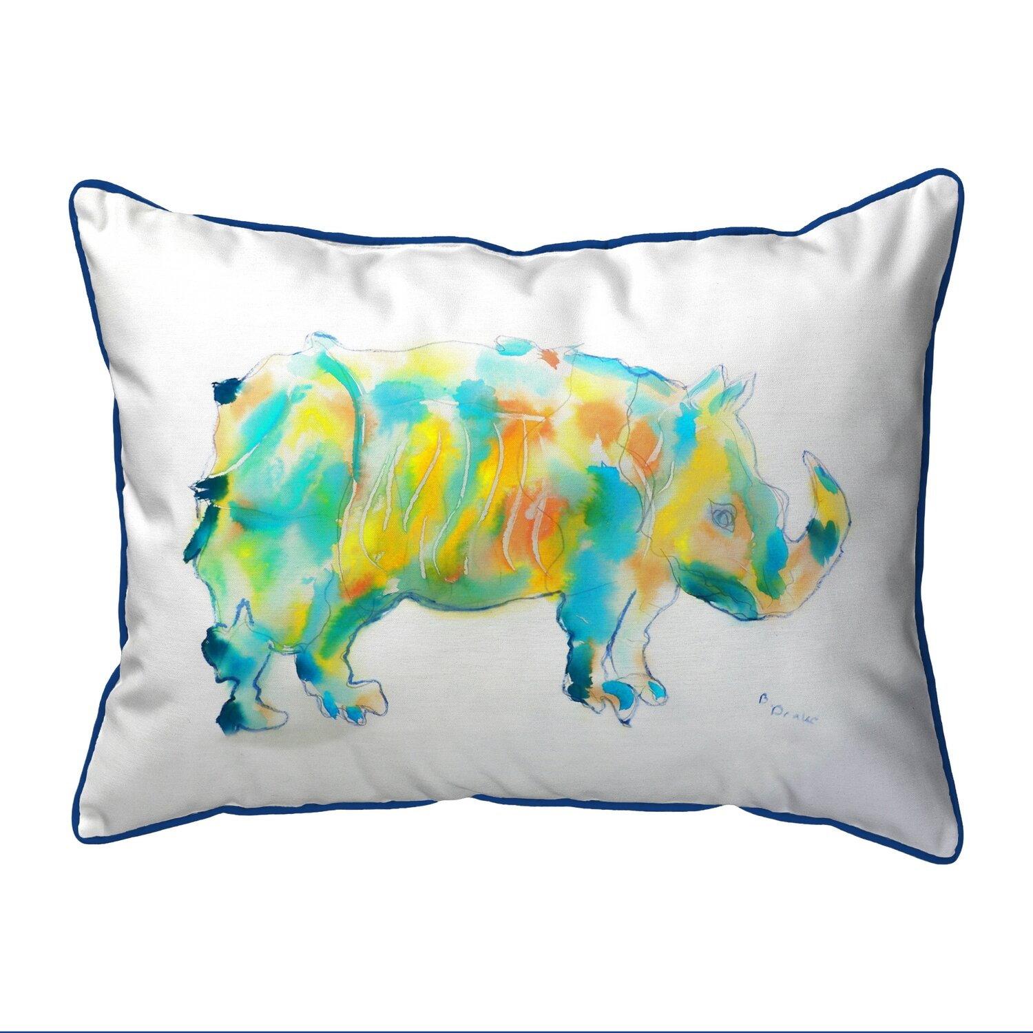 Betsy Drake SN129 Rhino Small Indoor//Outdoor Pillow 11 x14
