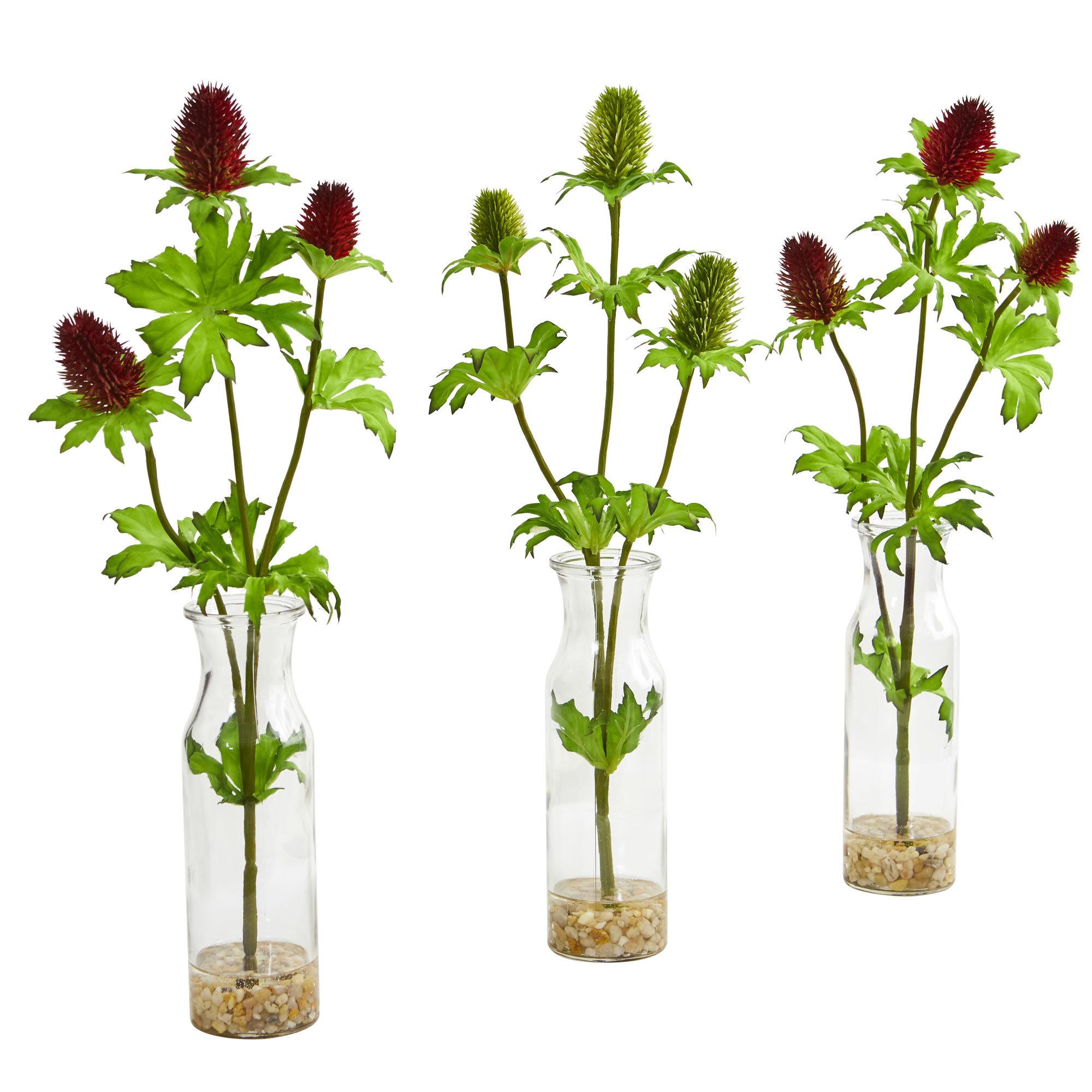 Gracie Oaks Artificial Thistle Floral Arrangement In Vase Wayfair