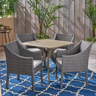 Sherise Outdoor 5 Piece Dining Set with Cushions