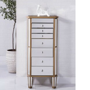 Pollark Free Standing Jewelry Armoire with Mirror