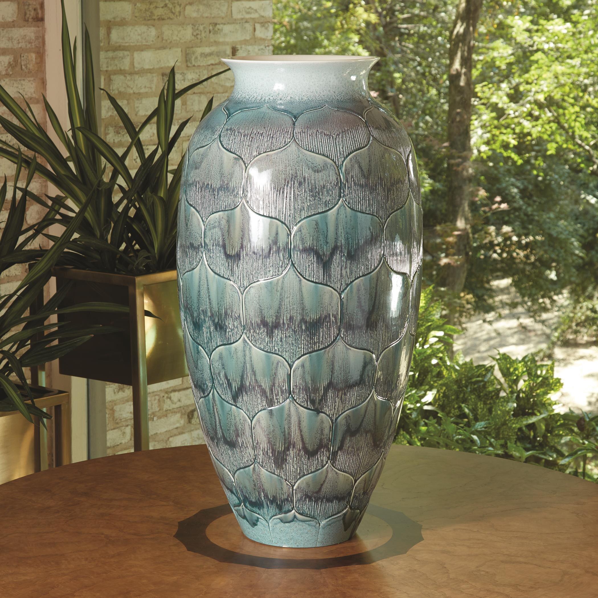 Global Views Lady Lo S Teal 30 5 Ceramic Floor Vase Wayfair