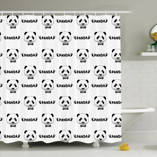 Panda Bow Tie Shower Curtain Set