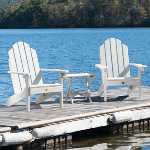 Highpoint Plastic Folding Adirondack Chair Set with Table