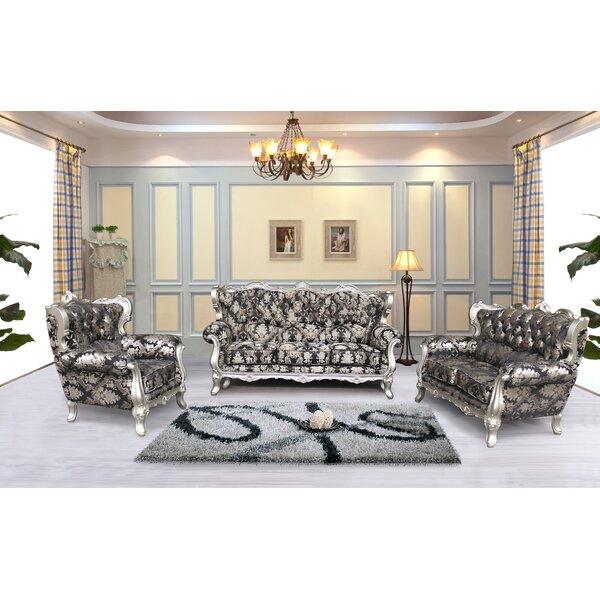Astoria Grand Vidalia 3 Piece Black And Silver Embossed Fabric
