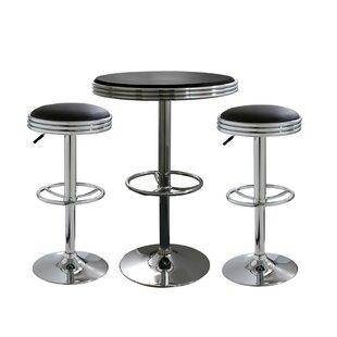 Kishore 3 Piece Adjustable Pub Table Set Ebern Designs