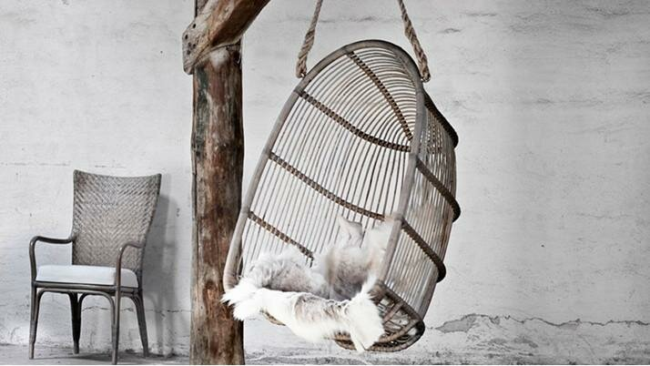 rustic basket rattan swing free hanginf from beam