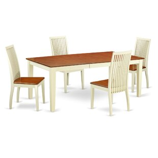 Pilger 5 Piece Solid Wood Dining Set August Grove