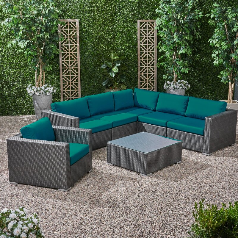 Roxann Outdoor 6 Seater Wicker Sectional Sofa Set with Sunbrella Cushions