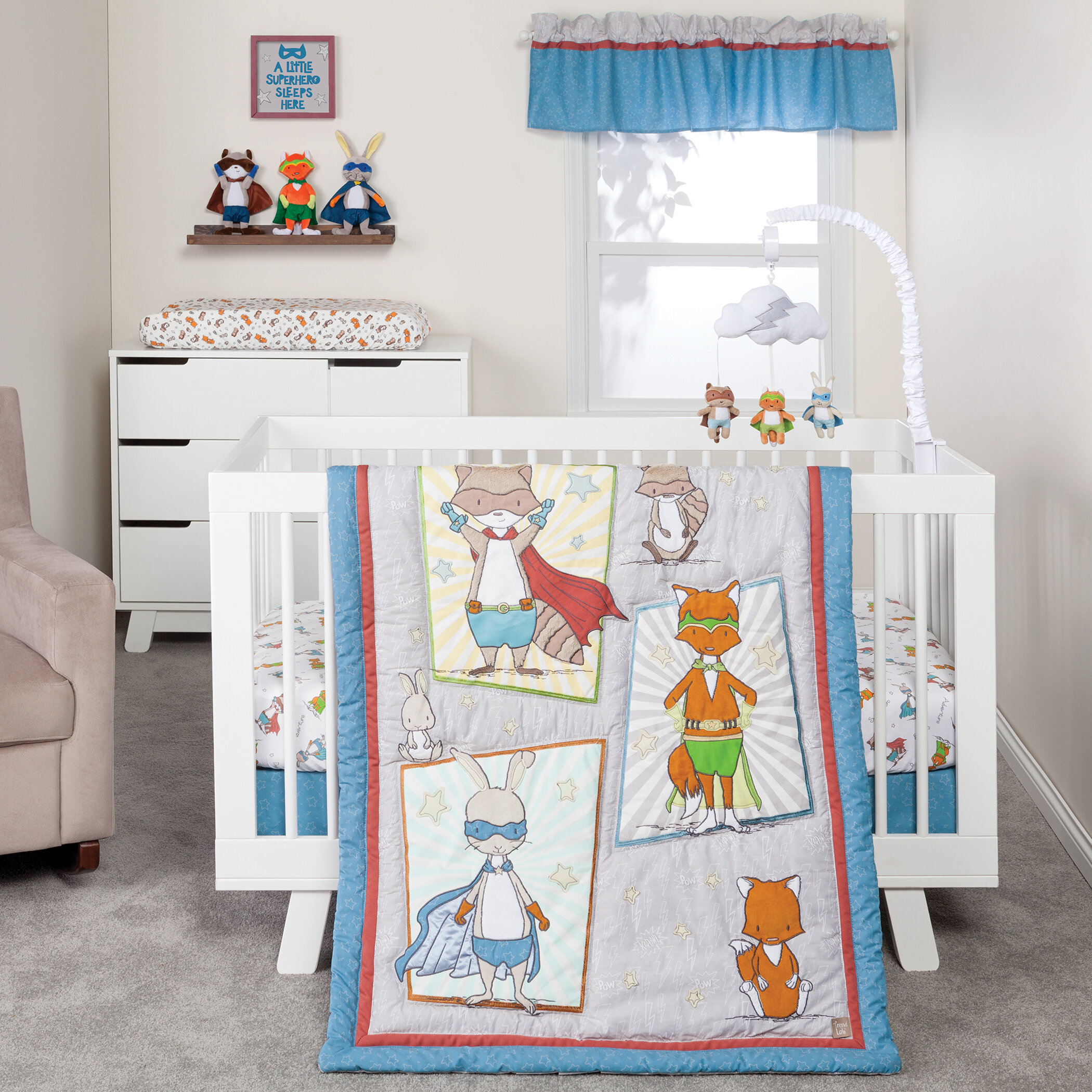 trend lab superheroes 3 piece crib bedding set wayfair
