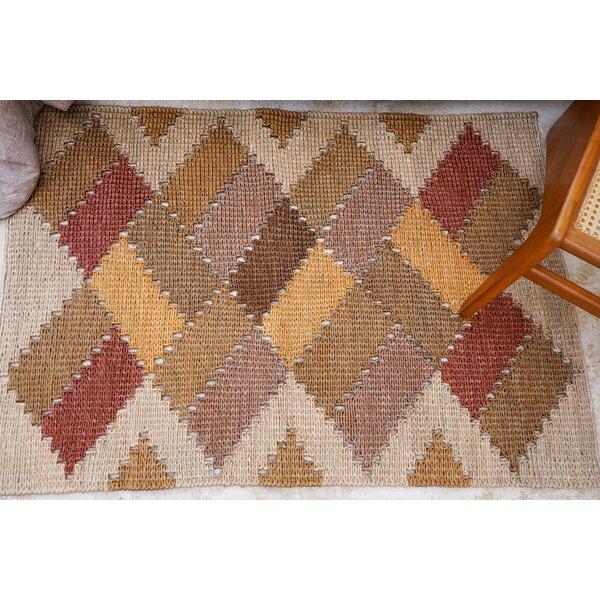 Minas Home Geometric Hand Braided Jute Brown Red Beige Area Rug Wayfair
